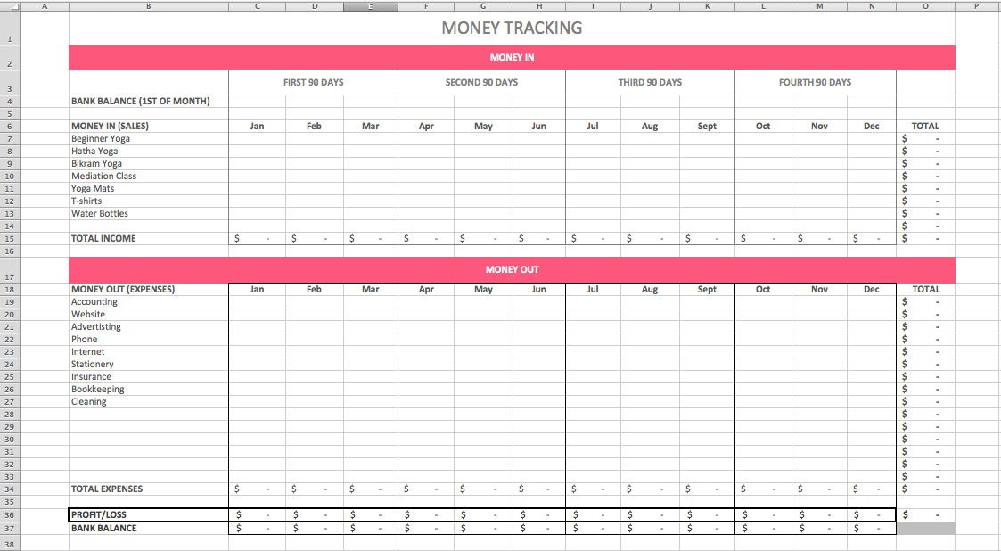 A simplified cash flow template to track money coming in and out of your business