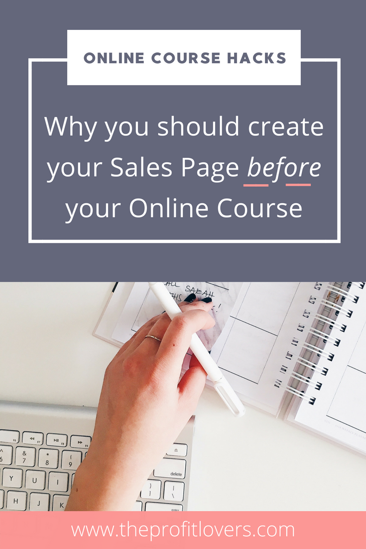 Why you need to create your sales page before you create your online course pin